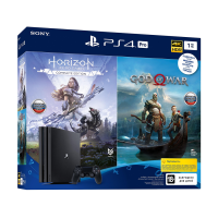 Игровая приставка SONY Playstation 4 Pro 1Tb бандл с играми: God of War, Horizon Zero Dawn